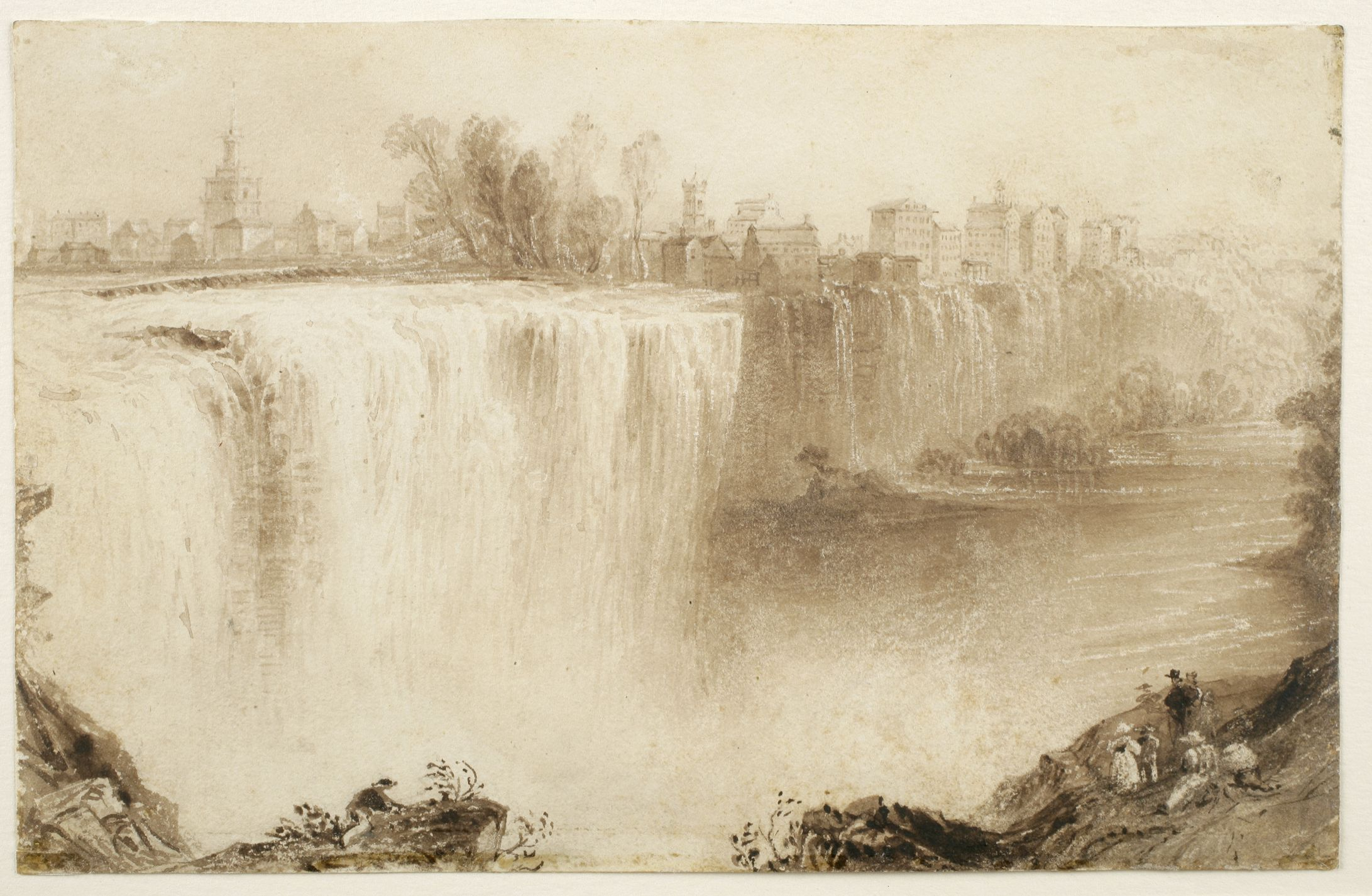 Genesee Falls, Rochester, New York : study for an engraving  | New