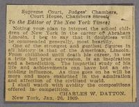 Vol. 2, clipping, letter to the editor of the New York Times signed Charles W. Dayton, New York, Jan. 26, 1909..