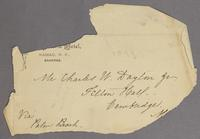 Vol. 2, fragment of envelope addressed to Mr. Charles Willoughby Dayton Jr., Felton Hall, Cambridge, M[ass.] via Palm Beach, with pencil notes 'my mother's writing' and '1899'.
