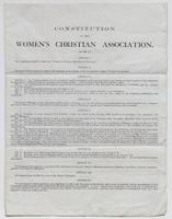 Printed copy of the constitution and by-laws of the Women's Christian Association, p. [1].