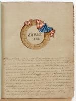 Diary, p. [1], February 13, 1853, with illustration of wreath draped with American flag at head.