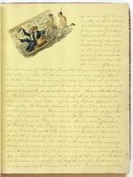 Diary, p. 3, March 3, 1853 (continued), with illustration of men on a sled at head.
