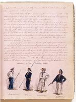 Diary, p. 7, April 1, 1853 (continued) and April 4, 1853, with illustration of four men with caption 'Members of The Boarding School' at foot.