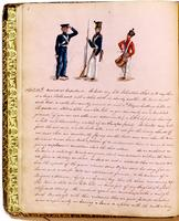 Diary, p. 8, April 14, 1853, with illustration of three men in military uniforms at head.
