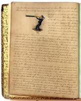 Diary, p. 12, May 10, 1853 (continued) and May 12, 1853, with illustration of man with telescope with caption 'NOX' on left side.