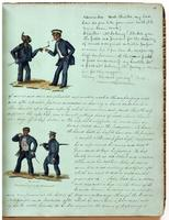 Diary, p. 13, May 12, 1853 (continued), with illustration of two men with caption with dialogue at head and illustration of two men with caption 'W.S.N. unmarried and married' on left of page.
