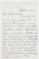 Letter from Ellen McCauley to Admiral Davis, dated Jamestown, Rhode Island, September 1904, describing reason for missing pages 15 and 16, p. [1].
