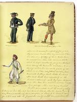 Diary, p. 17, undated (continued), with illustration of man with caption 'Going on 24 hrs leave' on left side at head, illustration of two men with caption 'Returned on board, Sir! Lost my Bree------hes' on right side at head, illustration of man with cap