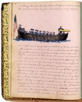 Diary, p. 20, June 16, 1853 (continued), with illustration of men on boat with American flag and cannon.