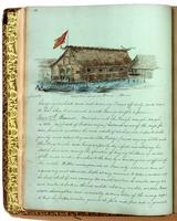 Diary, p. 22, June 16, 1853 (continued) and June 27, 1853, with illustration of house with caption 'Reception house at Brun� [i.e. Brunei] - / Borneo' at head.
