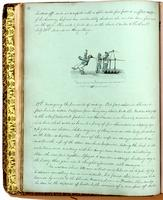 Diary, p. 32, July 21, 1853 (continued), and July 27, 1853, with illustration of three men, one with hair caught in a mechanical contraption with caption ' 'Look before you leap!' (Confucius, BOOK VII, CHAP XX)' in center of page.