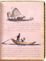 Diary, p. 33, July 27, 1853 (continued), with illustration of boat and crew with caption 'Fast-boat' at head, and illustration of two men in boat with caption 'San-pan' in center of page.