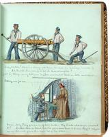 Diary, p. [49], November 3, 1853 (continued), with illustration of three men manning a cannon with caption with dialogue at head, and illustration of a man and woman with caption 'Sitting out for sea' with dialogue at bottom of page.