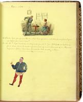 Diary, p. [51], December 1, 1853 (continued), with illustration of a man and woman with caption 'Return stock' and dialogue, and illustration of man with glass.