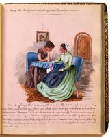 Diary, p. [53], January 2, 1854 (continued), illustration of two women, with caption 'One of the things not thought of when homeward bound' and dialogue.