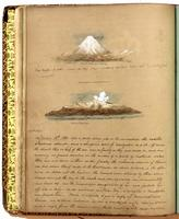 Diary, p. [58], February 13, 1854, with illustration of a mountain, with caption 'Mount Fusi [i.e. Fuji], from False Bay' at head of page, and illustration of a mountain, with caption 'Mount Ohosima [i.e. Oshima]' in center of page.