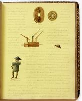 Diary, p. 67, February 27, 1854, with illustration of coins with captions 'Carry' and 'Jon' at head of page, illustration of a tool with caption 'Fire Engine' at center of page, illustration of a hat with caption 'Hat' at right of page, and illustration o