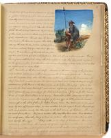 Diary, p. 71, March 10, 1854 (continued), with illustration of man sitting and holding a spear at head.
