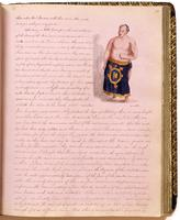 Diary, p. 73, March 24, 1854 (continued), with illustration of man at head.