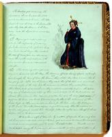 Diary, p. 77, April 2, 1854, April 8, 1854, and April 10, 1854, with illustration of woman at head.
