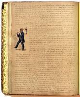 Diary, p. 84, May 9, 1854 and May 12, 1854, with illustration of man carrying lantern at left of page.