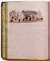 Diary, p. 88, May 12, 1854 (continued), May 15, 1854, and May 16, 1854, with illustration of houses and people at head.