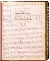 Diary, p. 89, May 16, 1854 (continued), with illustration of building blueprint at right of page, illustration of building at left of page, and illustration of scroll at center of page.