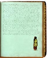 Diary, p. 97, June 9, 1854, with illustration of man at foot.