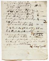 Account  and receipt from Robert Watts to Col. Biddle via Richard Varick, November 1, 1778, recto.
