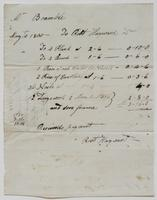 Account and receipt from Robert Hayward to William [?] Bramble for payment received, August 7, 1805, recto.