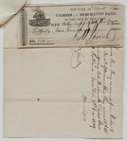 Check made out to Helena Lefferts by Richard Varick, dated April 10, 1830.