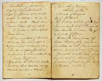 Recipe for whortleberry pudding and Albion cake; and instructions for removing spots from linen, undated.