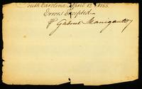 [Manuscript fragment signed by Gabriel Manigault]