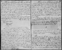 Volume 3, Indentures, 1809-1829. Register of manumissions and indentures, page 64-65, with recto of inserted slip
