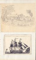 [Unnumbered], [Drawing of a farm scene and drawing of a ship]