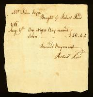 [Bill of sale for a slave named John]