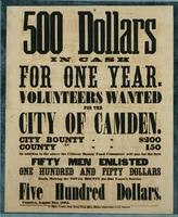 500 Dollars in cash for one year. Volunteers wanted for the city of Camden. City bounty--$200 County [bounty]--150 …