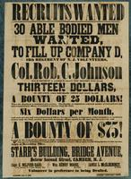 Recruits wanted 30 able bodied men wanted to fill up Company D, 12th Regiment of N.J. Volunteers, Col. Rob. C. Johnson.