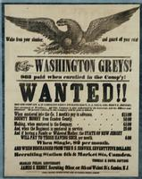 Washington Greys! $63 paid when enrolled in the Comp'y! Wanted!! Men for company A, Washington Greys, twelfth reg't, N.J. Vol's, Col. Rob't C. Johnson, now encamped at Woodbury.