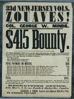 33d New Jersey Vols. Zouaves! Col. George W. Mindil. $415 Bounty.