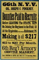 66th N.Y.V. Col. Joseph C. Pinckney. Bounties paid to recruits before leaving the state, $129, on joining the regiment, in the field, 13, at the expiration of the enlistment, 75, making in all $217 …