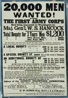 20,000 men wanted for the First Army Corps now being organized at Washington by Maj. Gen'l. W.S. Hancock.