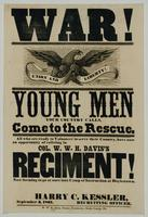 War! Young men your country calls, come to the rescue. All who are ready to volunteer to serve their country, have now  an opportunity of enlisting in Col. W.W.H. Davis's regiment!
