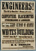 Engineers! The only one from Pennsylvania. Carpenters, blacksmiths, stonemasons & laborers. The Independent Company of Infantry to act as Engineers and Artificers, being accepted by the proper authorities, the enrolled members will report ...