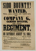 $100 Bounty! Wanted, thirty sober, reliable, able bodied men for Company G, New Jersey Regiment, to be mustered in service on Saturday, August 24, 1861.