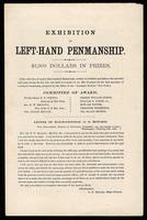 Printed document detailing an Exhibition of Left-hand Penmanship, undated, p. 1.