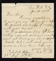 Letter from Robert A. Hoffman to William Oland Bourne, written from New York City, dated January 27, 1867.