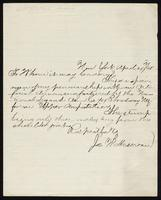 Letter from Joe W. Mersereau 'To whom it may concern', written from New York City, dated April 24, 1865.