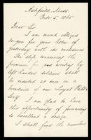 Letter from Charles Eliot Norton to William Oland Bourne, written from Ashfield, Massachusetts, dated October, 1865, p. 1.