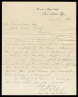 Letter from William A. Short to William Oland Bourne, written from the Office of the Third Auditor at United States Treasury Department, dated June 8, 1866.